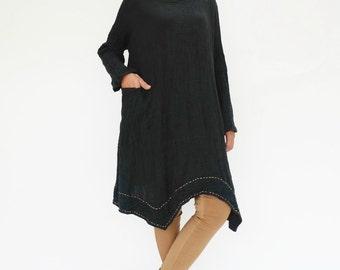 NO.201 Black Double Cotton Gauze Long Sleeves Tunic Dress, Boat-Neck Dress, Stitch  Detail Tunic, Women's Tunic