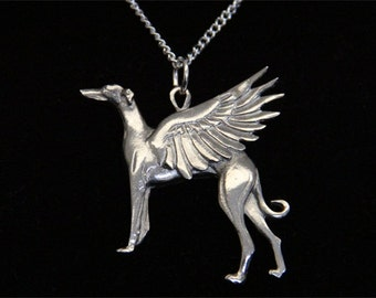 Greyhound Angel Necklace - Whippet Dog Angel Wings