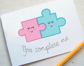Jigsaw Piece Valentine's Card - You Complete Me - Kawaii Card