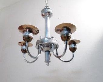 Vintage Chandelier Art Deco Light Fixture Silver Pendant Lighting Art Nouveau