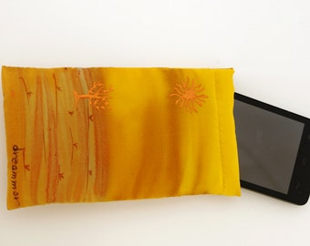 glasses case or phone case. eyewear case handpainted silk. Gift for her.silk soft pouch.