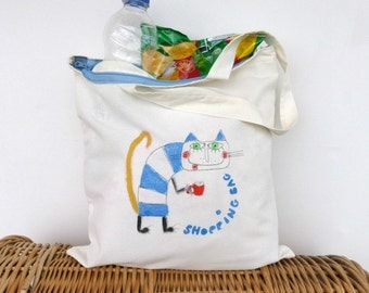 Grocery bag Shopping bag ZIP closing, reusable cotton tote, market eco bag, canvas hand painted tote cat