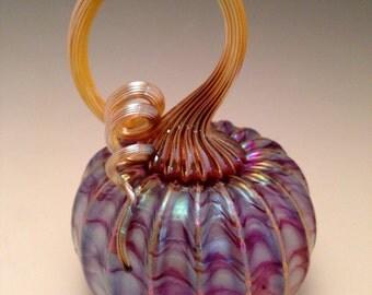 Jack Pine Studio Hand Blown Glass Pumpkin Mini Lavender White (50307)