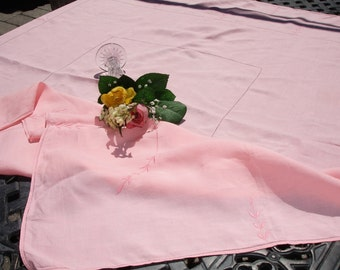 """Tablecloth, linen tablecloth, hemstitching, embroidery, Salmon color, 1950s tablecloth, high end linen, Elegant dining, 48.5 """" square"""