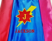 Super Hero Kid's Cape,  Embroidered Monogram Lightning Bolt Personalized Cape with Name