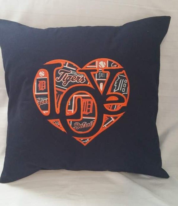 """Embroidered Detroit Tigers  """"Love""""  Pillow Cover  - 18 x 18- Detroit Tigers"""