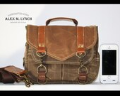 PETITE Waxed Canvas small Messenger bag - cross body bag handmade by Alex M Lynch - 010035