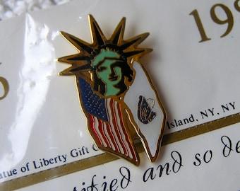 Vintage Statue of Liberty Lapel Pin, Massachusetts State Flag, Souvenir Pin, Centennial Celebration 1886-1986, USA, State Flag