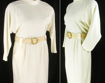 Vtg 90s does the 60s Cream turtleneck LS Dress with Space Age MOD Belt 14P