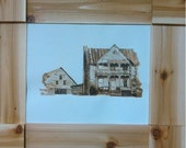 An Old White House, burning on paper, wood burn, pyrography, art,