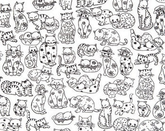 Cotton Fabric -  Black and White Cat Print on Soft White Cotton by the yard Fat Quarters Half Yard