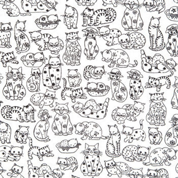 Cotton Fabric Black And White Cat Print On Soft White