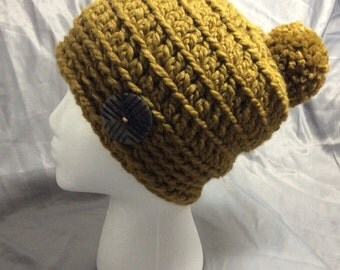 Adult Slouchy Hat Crochet With Button Accent