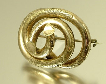 Antique, vintage, 1800s Victorian gilt metal knot brooch pin - jewellery jewelry