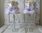 Crystal table lamps set French Nordic inspired lampshades vintage lace w/ lavender flowers lighting lamp shades decor anita spero design