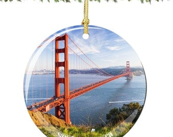 San Francisco Golden Gate Bridge Porcelain Christmas Ornament