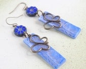 Blue Butterfly Flower earrings Nature jewelry polymer clay jewellery Cute earrings