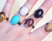 Simple Minimalist Solitaire Gemstone Ring Adjustable Rustic Jasper Turquoise Agate Opaline Tiger's eye Every day Ring for her