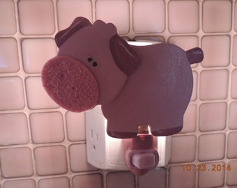 Pink Pig  Night Light One of a Kind Whimsical, Adorable!