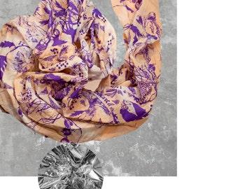 Hand-printed cotton/silk scarf / / pineapple blues / / purple