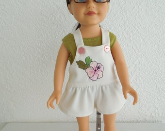 18 inch Doll Clothes White Shortalls and Tank Top fits American Girl Doll