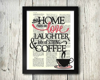 Love & Coffee - Decorative Art Print,Vintage posters,Drawing,print,poster,digital,wall decor,Gifts,Decorative Arts,illustration,Home Living