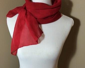 Hand dyed red silk chiffon scarf -