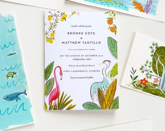 Retro Florida Jungle custom illustrated fold-out invitation with tear-away RSVP and details card