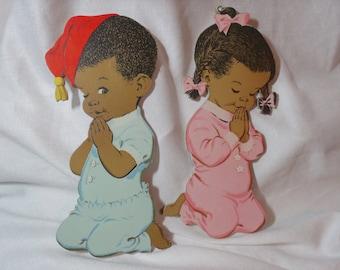 Vintage Children's Wall Decorations, Praying Children, Black Americana