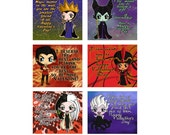 DIGITAL DOWNLOAD - Six (6) Disney Villains Themed Chibi Valentines Day Valentine Cards with The Evil Queen, Maleficent, Ursula, Jafar & more