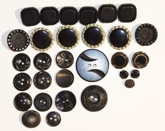 LOT: 30 Vintage Black Plastic / Glass / Metal Assorted Interesting Buttons
