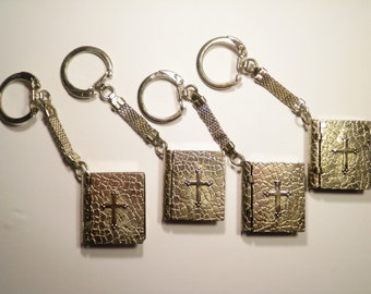 4 Silver Plated Bible Book Key Chains