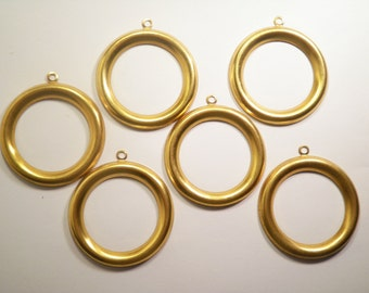6 Vintage Brass 48mm Round Hoops