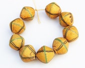 Large Yellow Venetian King Beads, Trade Beads from Africa, Unique Jewelry Supplies (P111)