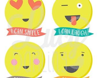 Emoji Stickers- Baby's First Stickers- Emoticon Stickers- Milestone Stickers- Bodysuit Stickers- Baby Photo Prop- Set of 12