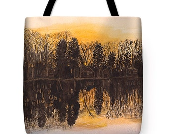 Gift Idea Watercolor Sunset Reflections Decorative Tote