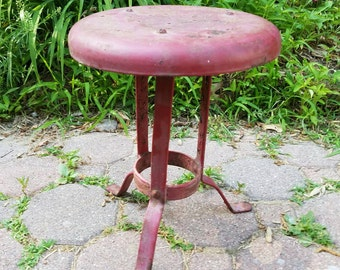 Primitive Country Metal Milk Stool Plant Stand