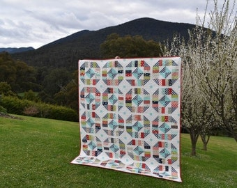 PDF Pattern for Grateful Queen Throw Patchwork Quilt. Classic Modern Handmade Quilt from Jelly Roll