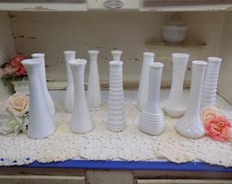 12 Vintage White or Milk Glass Vases Vintage Wedding Party Lot  B1250