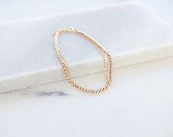 Double Gold Chain Bracelet (14k gold filled double chain bracelet, 14k gold fill bracelet, minimal bracelet, layering bracelet, box chain)