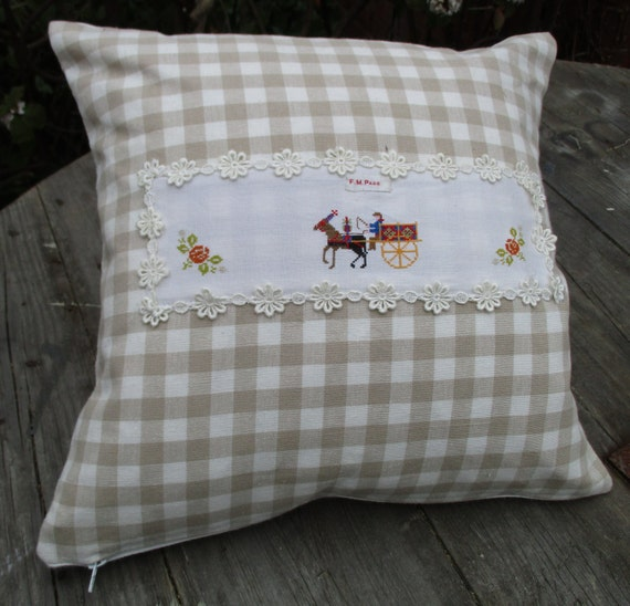 Vintage cross stitch embroidery cushion gingham fabric