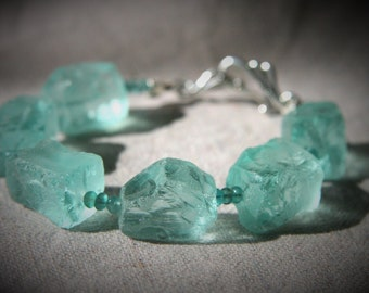 Calypso Bracelet: green fluorite and chunky aqua glass nuggets with sterling silver clasp