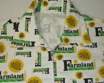 Vintage 1970s Mens Jacket / M - L / Farmland Foods / Pop Art Jacket / Ham / 1970s Windbreaker / Advertising / Pop Art / Novelty / Meats