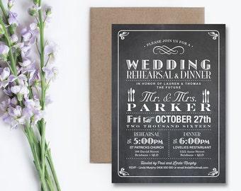 Printable Wedding Rehearsal and Dinner Invitation \ Vintage Chalkboard Invitation \ Poster Invitation (RD24)