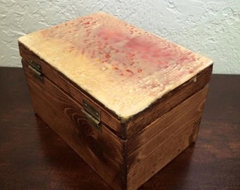 Jewelry Box with Encaustic Painting on Top