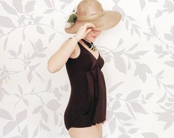 Vintage 70s swimsuit / deadstock maternity brown bathing suit / size medium /  bullet bra tankini / romper beach coverup / pregnant swimsuit