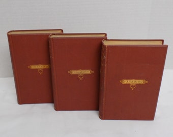1879 Set of 3 Dante Alighieri - Divine Comedy - Longfellow Vol 1 - 3 - Inferno Purgatorio Paradiso - Antique Book Collection - Red Gold Gilt