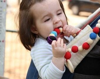 SUPER SALE Organic Crochet Nursing necklace, Amigurumi Ladybug toy necklace, wooden ring pendant, Breastfeeding teething toy