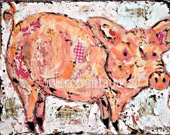 Pig art, pig decor. Pig print from original pig painting.