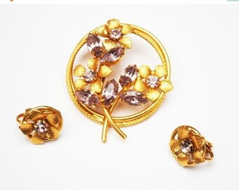 Purple Flower brooch and earring set Lavender rhinestone and gold plated floral with clip on earrings